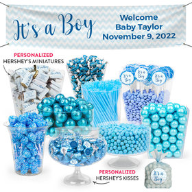 Personalized Boy Birth Announcement Chevron Deluxe Candy Buffet