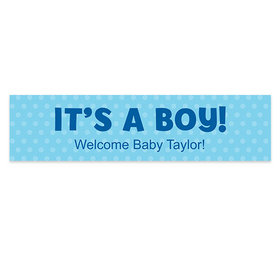 Personalized Polka Dots Boy Baby Announcement Banner