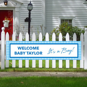 Personalized Checker Pattern Boy Baby Announcement 5 Ft. Banner