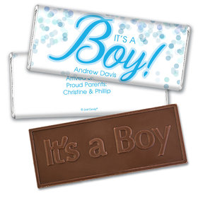 Personalized Bubbles Baby Boy Birth Announcement Hershey's Embossed Chocolate Bar & Wrapper