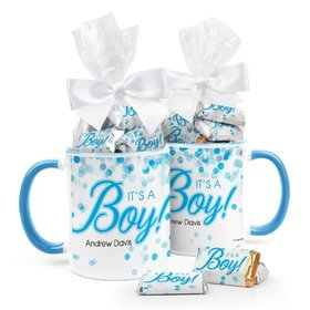 Personalized Baby Boy Announcement Bubbles 11oz Mug with Hershey's Miniatures