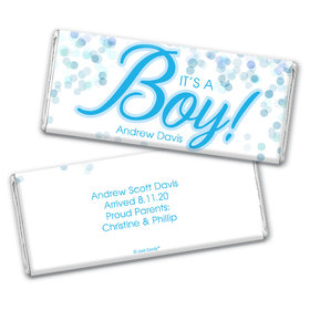 Personalized Bubbles Baby Boy Birth Announcement Hershey's Chocolate Bar & Wrapper