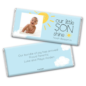 Personalized Our Little Son Shine Baby Boy Birth Announcement Hershey's Chocolate Bar & Wrapper