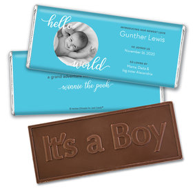 Personalized Hello World Baby Boy Birth Announcement Hershey's Embossed Chocolate Bar & Wrapper