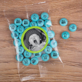 Personalized Boy Birth Announcement Hello World Candy Bag with JC Chocolate Minis