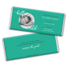 Personalized Hello World Baby Boy Birth Announcement Hershey's Chocolate Bar Wrappers