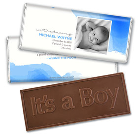 Personalized Elegant Watercolor Baby Boy Birth Announcement Hershey's Embossed Chocolate Bar & Wrapper