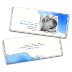 Personalized Elegant Watercolor Baby Boy Birth Announcement Hershey's Chocolate Bar & Wrapper
