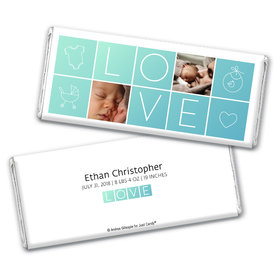 Personalized Boxes of Love Baby Boy Birth Announcement Hershey's Chocolate Bar & Wrapper