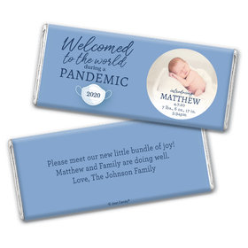 Personalized Pandemic Baby Boy Birth Announcement Chocolate Bar Wrappers Only