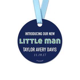 Personalized Round Baby Boy Little Man Onesie Birth Announcement Favor Gift Tags (20 Pack)