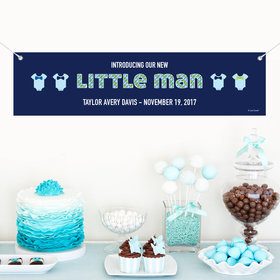 Personalized Birth Announcement Little Man 5 Ft. Banner