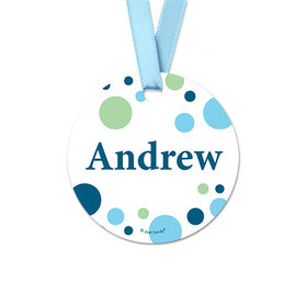 Personalized Round Dots Baby Boy Announcement Favor Gift Tags (20 Pack)
