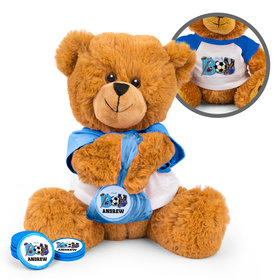 Personalized Birth Announcement Sporty It's a Boy Teddy Bear with Chocolate Coins in XS Organza Bag