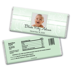 Baptism Personalized Chocolate Bar Wrappers Photo, Cross & Scroll