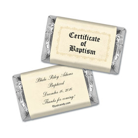 Baptism Personalized Hershey's Miniatures Wrappers Certificate of Baptism