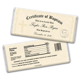 Baptism Personalized Chocolate Bar Wrappers Certificate of Baptism