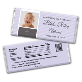 Baptism Personalized Chocolate Bar Photo & Cross