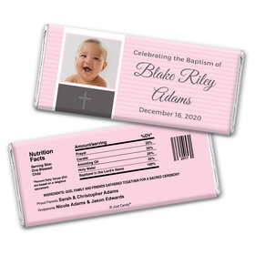 Baptism Personalized Chocolate Bar Wrappers Photo & Cross