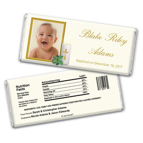 Baptism Personalized Chocolate Bar Cross Candle Photo