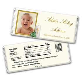 Baptism Personalized Chocolate Bar Wrappers Cross Candle Photo