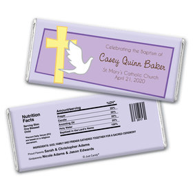 Baptism Personalized Chocolate Bar Wrappers Dove & Cross