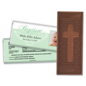 Baptism Personalized Embossed Cross Chocolate Bar Photo & Scroll