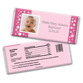 Baptism Personalized Chocolate Bar Wrappers Photo & Dots