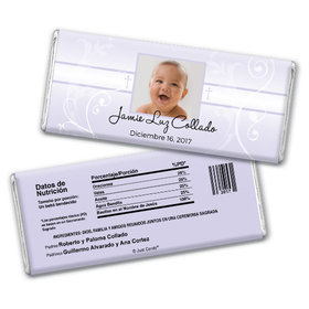 Baptism Personalized Chocolate Bar Foto del nio de Dios