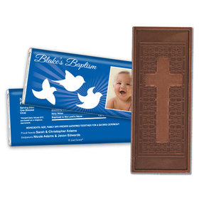 Baptism Personalized Embossed Cross Chocolate Bar Peace Doves