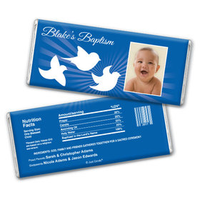 Baptism Personalized Chocolate Bar Peace Doves