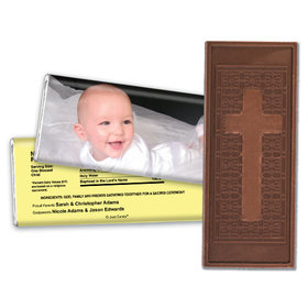 Personalized Baptism Embossed Cross Chocolate Bar & Wrapper