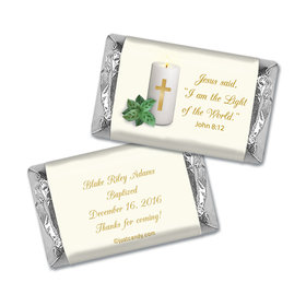 Baptism Personalized Hershey's Miniatures Wrappers Candle with Cross