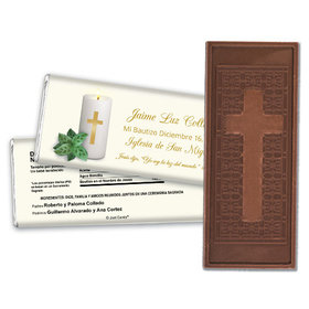 Baptism Personalized Embossed Cross Chocolate Bar Vela con la Cruz