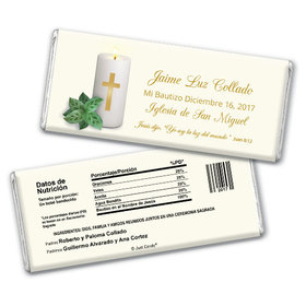 Baptism Personalized Chocolate Bar Vela con la Cruz