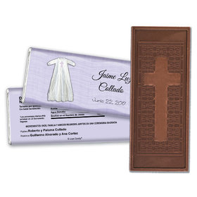 Baptism Personalized Embossed Cross Chocolate Bar Vestido con la Fe