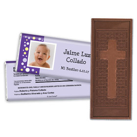 Baptism Personalized Embossed Cross Chocolate Bar Foto con Lunares