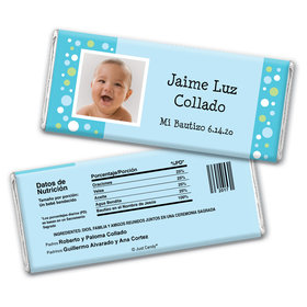 Baptism Personalized Chocolate Bar Wrappers Foto con Lunares