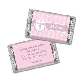 Baptism Personalized Hershey's Miniatures Wrappers Cross & Stripes