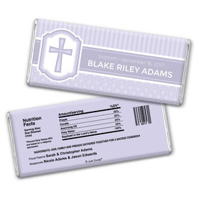 Baptism Personalized Chocolate Bar Cross & Stripes