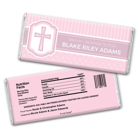 Baptism Personalized Chocolate Bar Wrappers Cross & Stripes