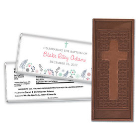Baptism Personalized Embossed Cross Chocolate Bar Flower Blooms