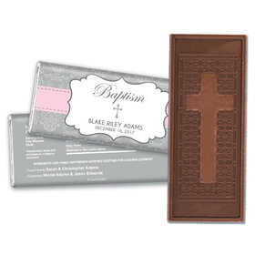 Baptism Personalized Embossed Cross Chocolate Bar Framed Cross