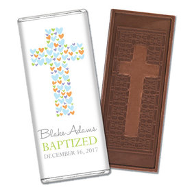 Baptism Personalized Embossed Cross Chocolate Bar Cross of Hearts