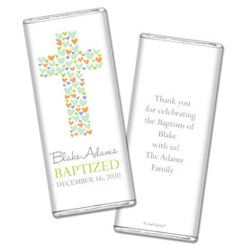 Baptism Personalized Chocolate Bar Wrappers Cross of Hearts
