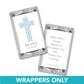 Baptism Personalized Hershey's Miniatures Wrappers Polka Dot Cross