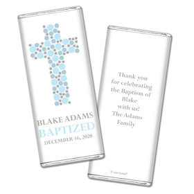 Baptism Personalized Chocolate Bar Wrappers Polka Dot Cross