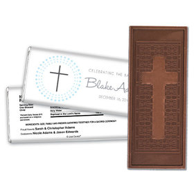 Baptism Personalized Embossed Cross Chocolate Bar Circled Cross