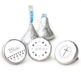 Baptism Personalized Hershey's Kisses Circled Cross Assembled Kisses (50 Pack)