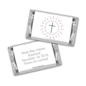 Baptism Personalized Hershey's Miniatures Circled Cross